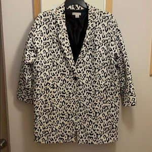 Black and white leopard print cocoon coat